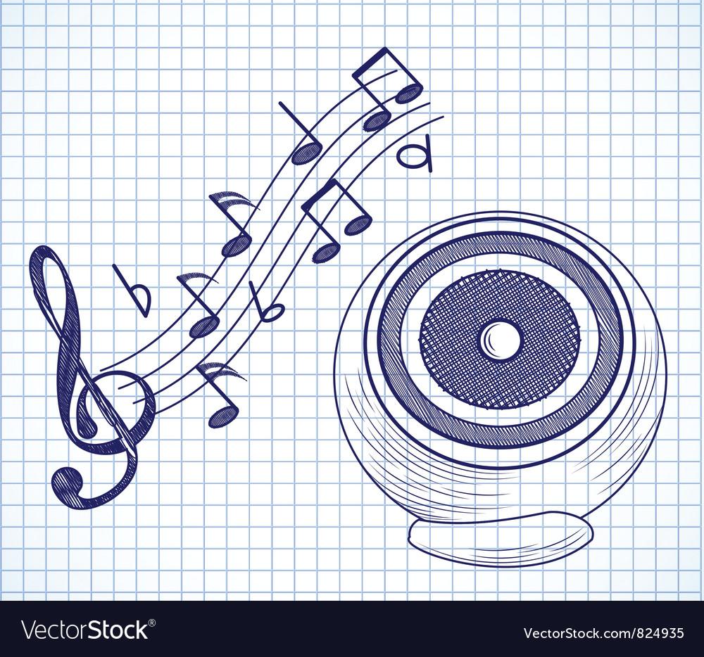 Doodle audio speaker vector