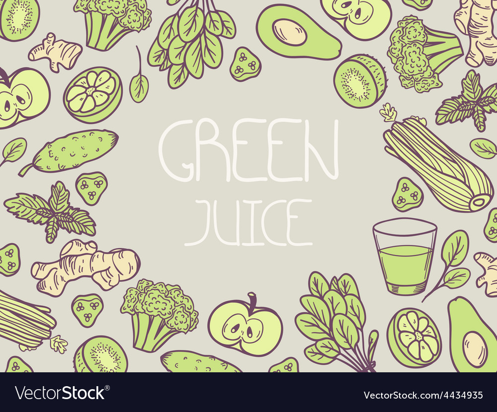 Green juice background with vegetable frame vector