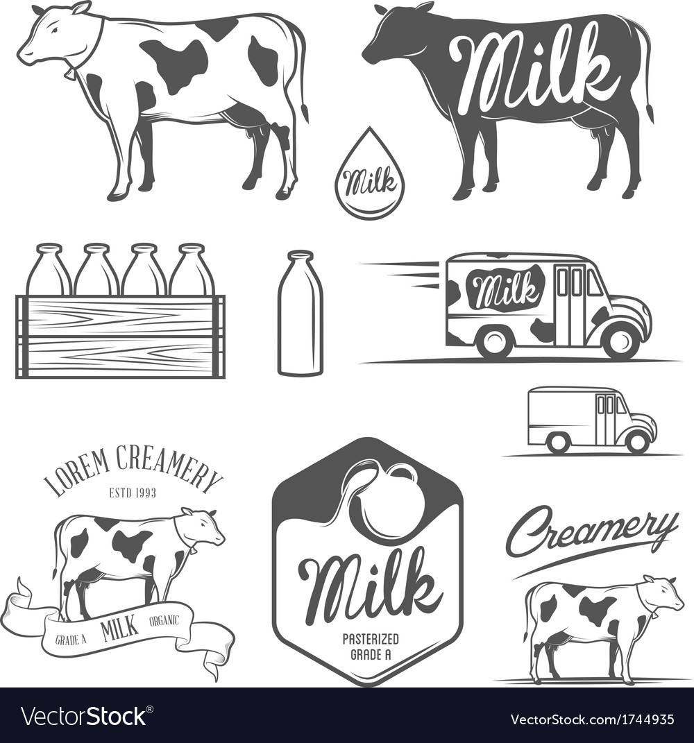 Set of milk and creamery design elements vector