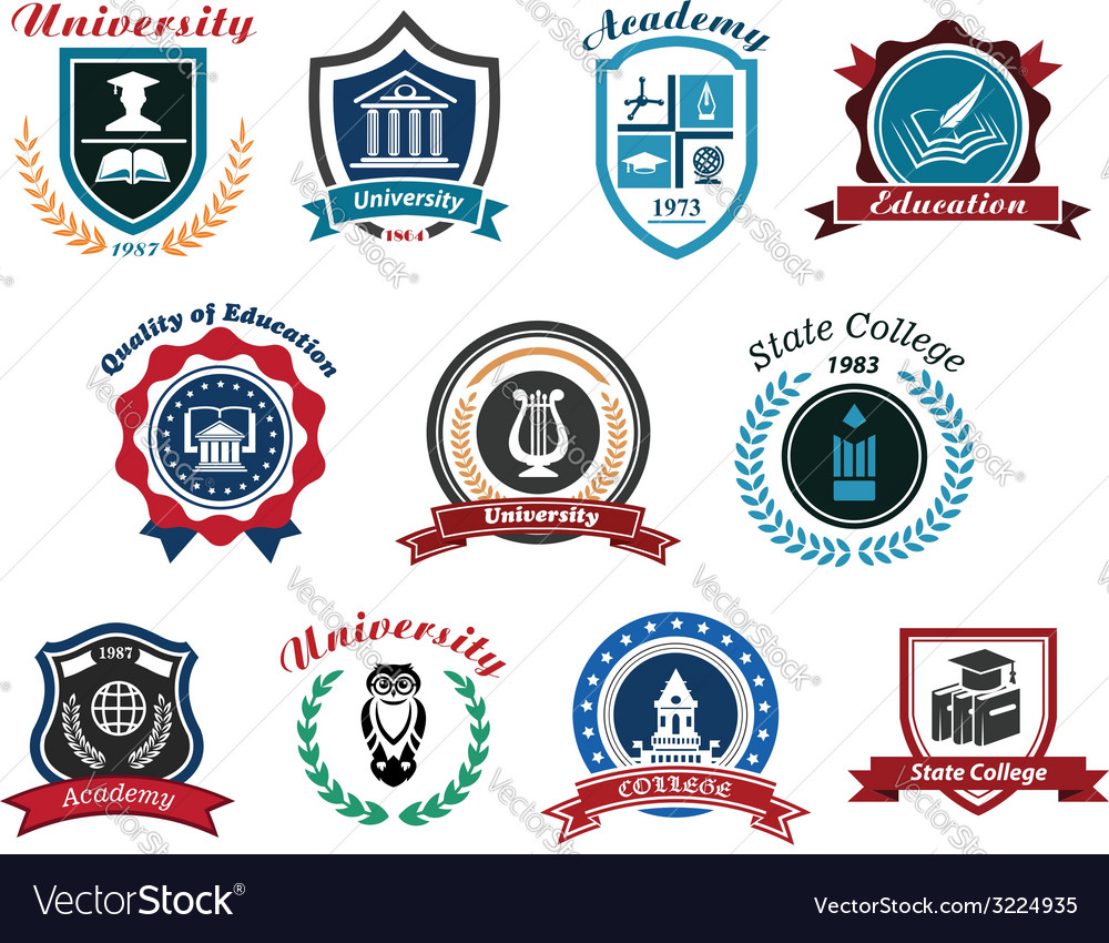 University academy and college emblems or logos vector