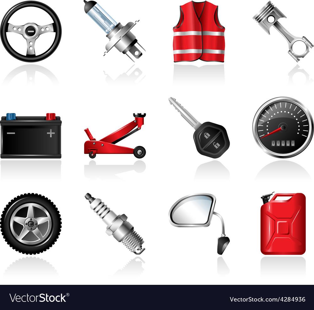 Car parts icon set vector