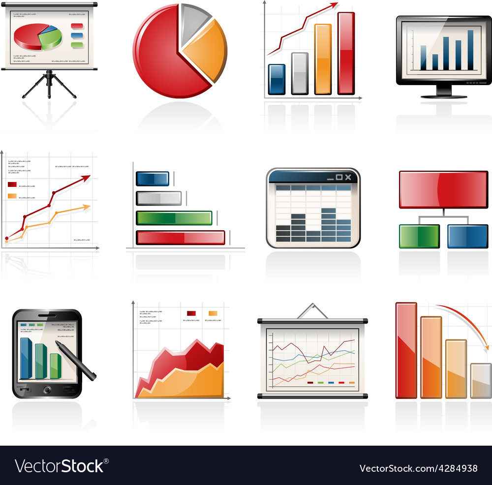 Chart and graph icons vector