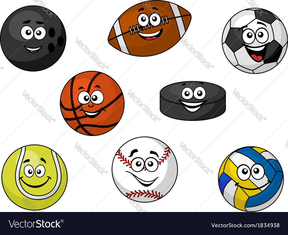 Happy sporting balls and equipment vector