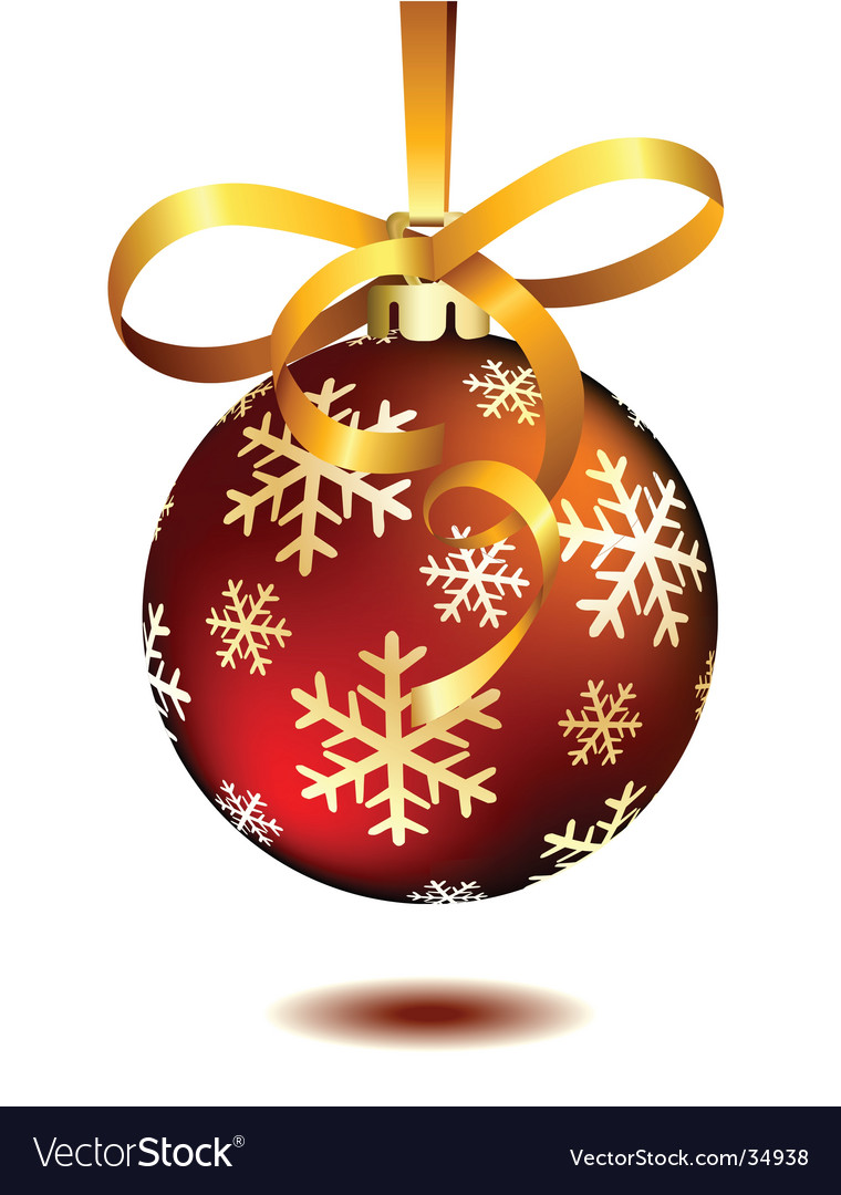 Red christmas ball on white vector