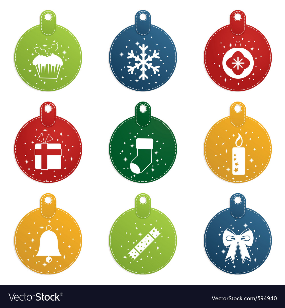 Stitched christmas tags vector