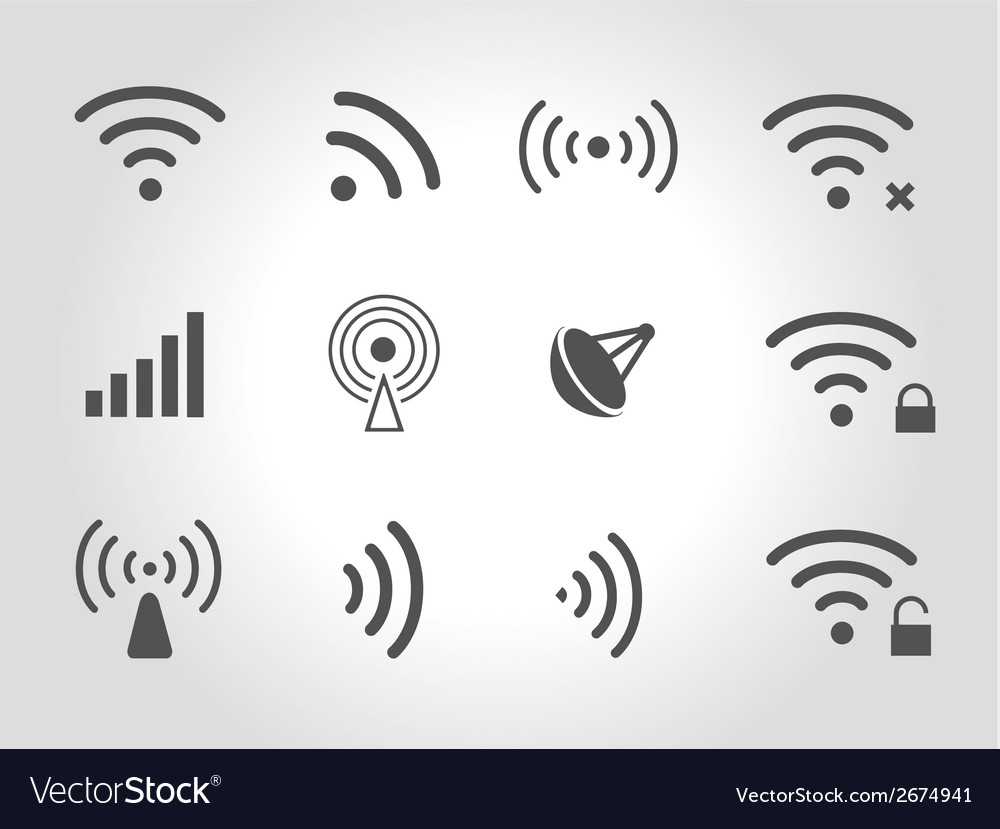 Set of twelve black wireless and wifi icons vector