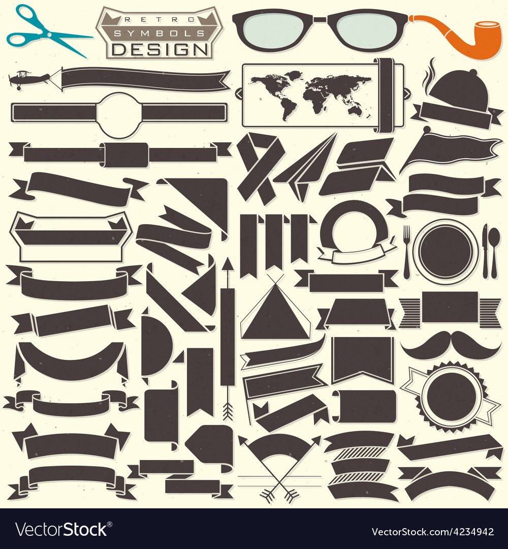 Black and white ribbons collection vector