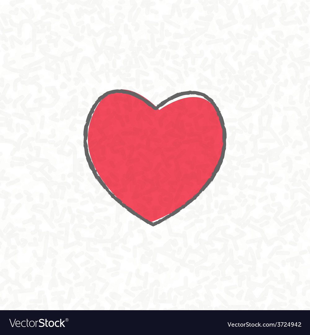 Heart on scribble abstract pattern white vector