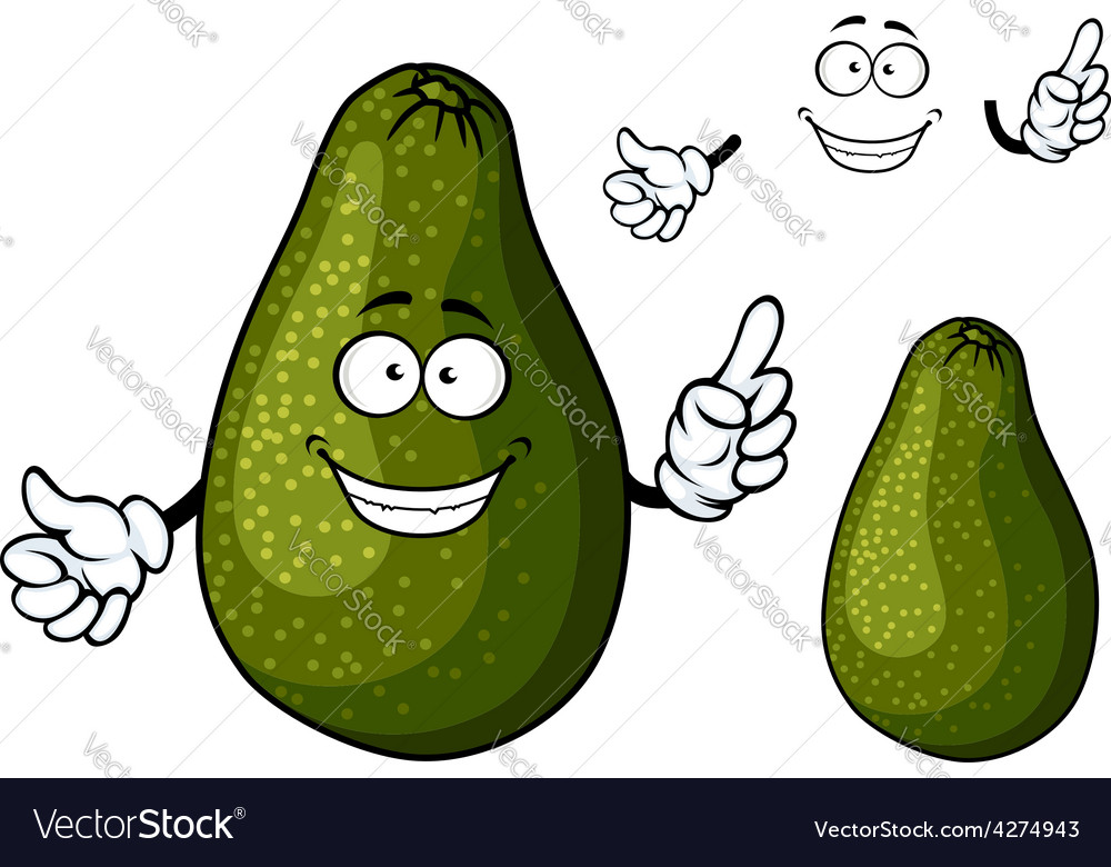 Smiling ripe green avocado fruit character vector