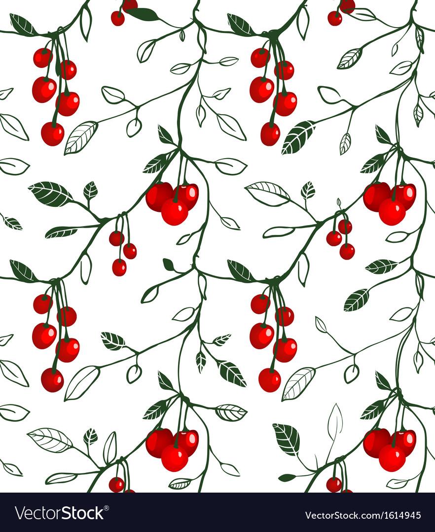Cherry berry seamless pattern vector