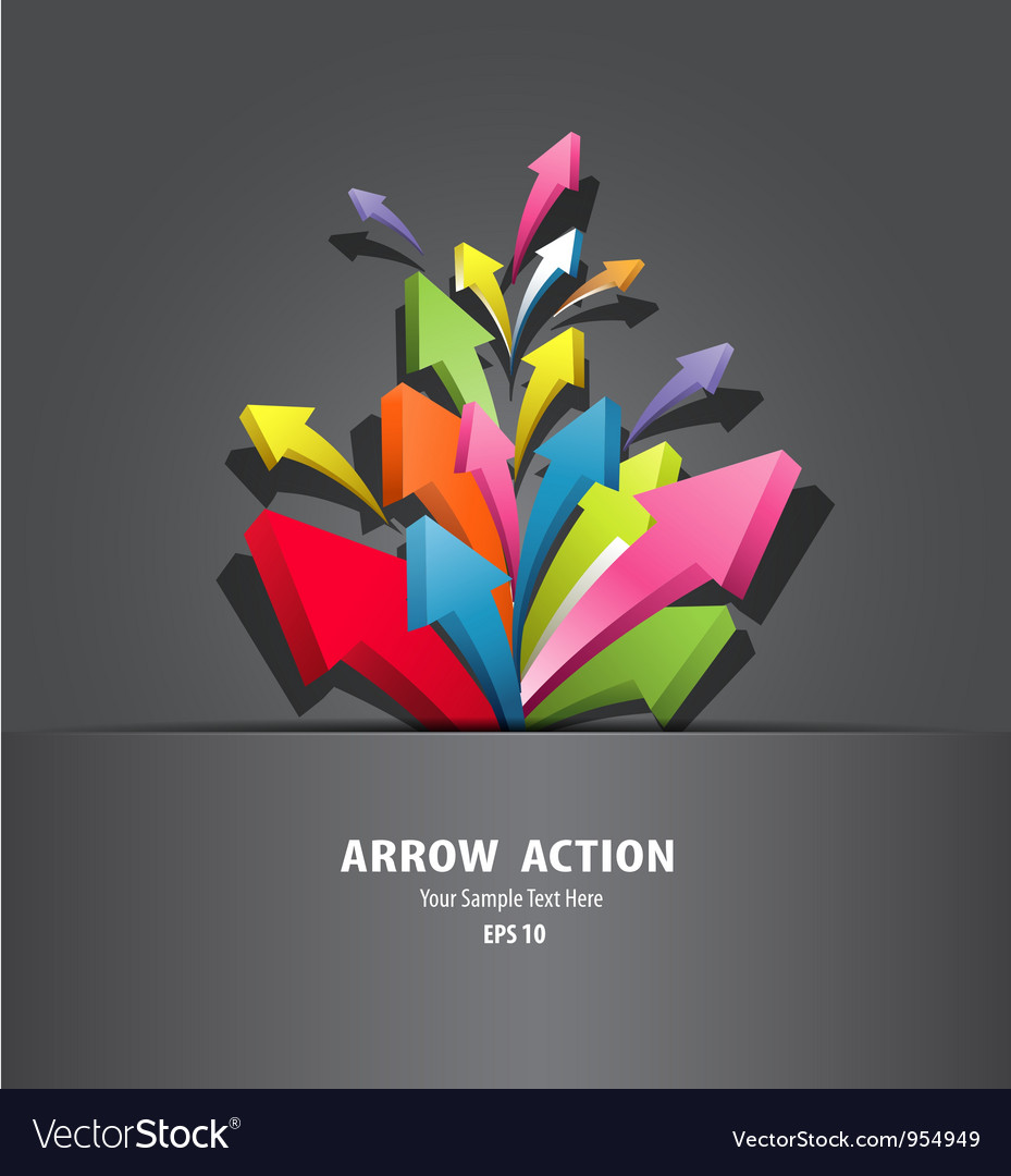 Colorful arrow action in black package vector