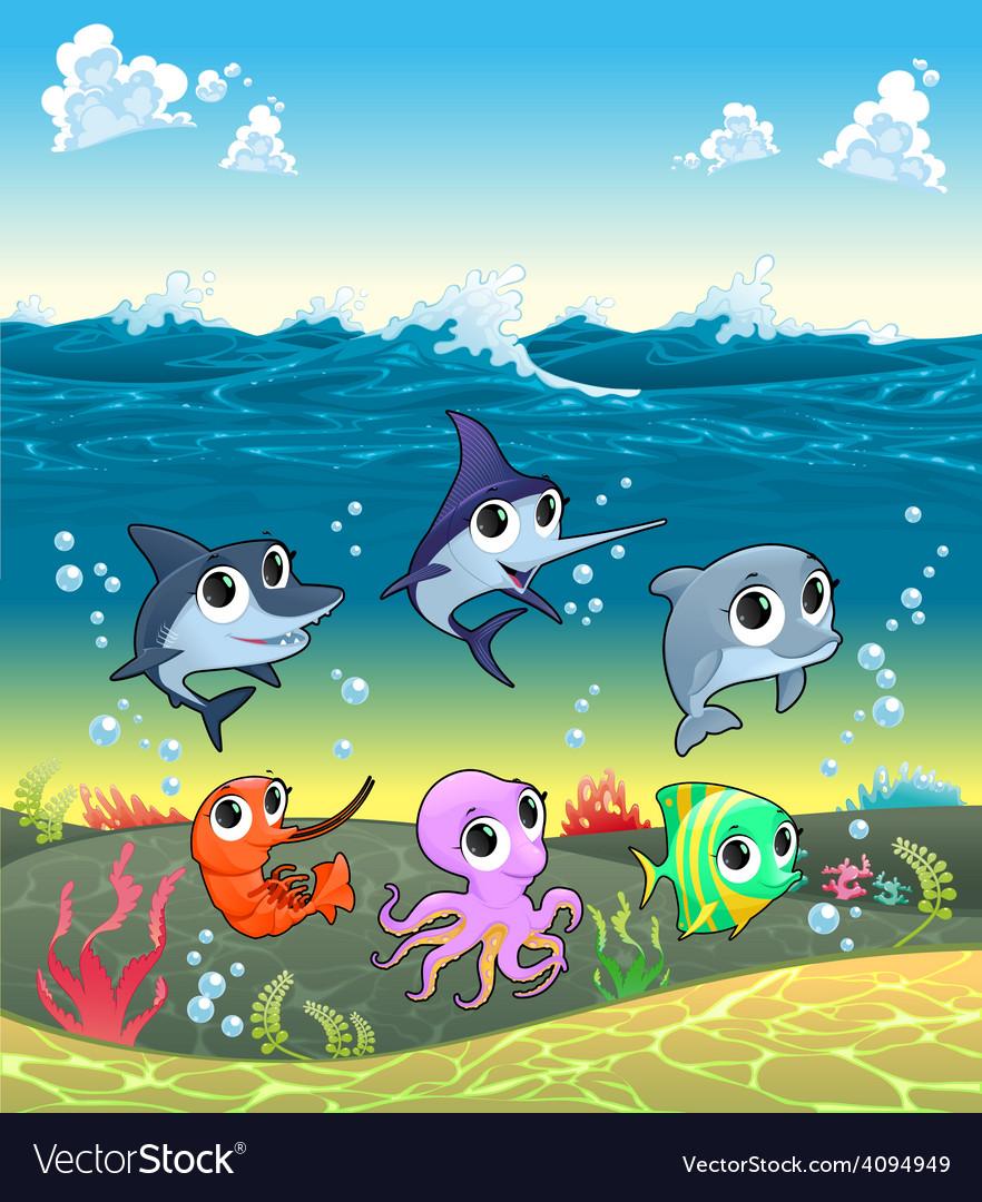 Funny marine animals on the ocean floor vector