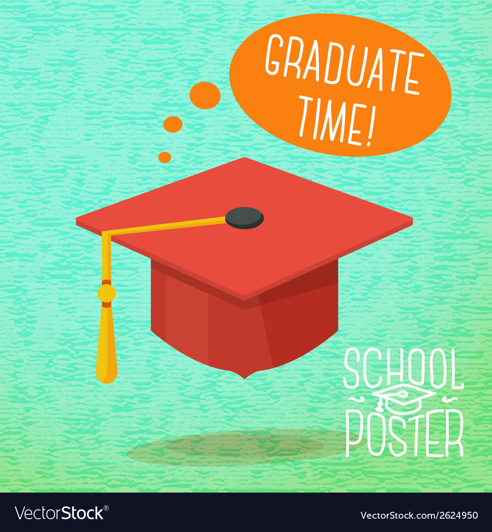 Cute school college university poster - graduation vector