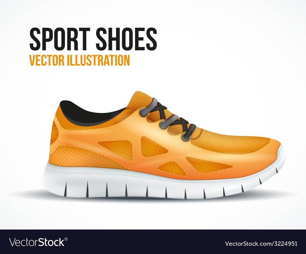 Running orange shoes bright sport sneakers symbol vector