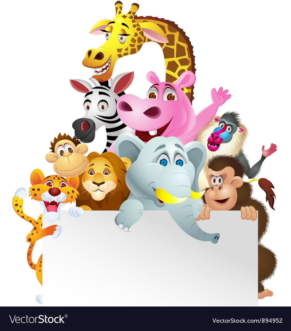 Animal cartoon with blank sign vector