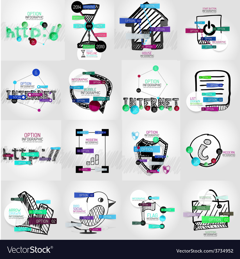 Hand-drawn symbols with infographic vector