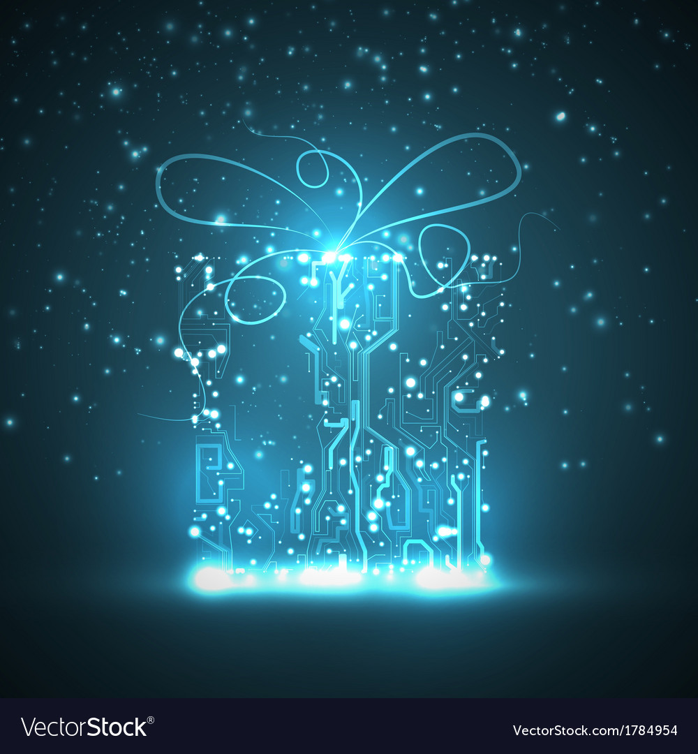Circuit board background christmas gift vector