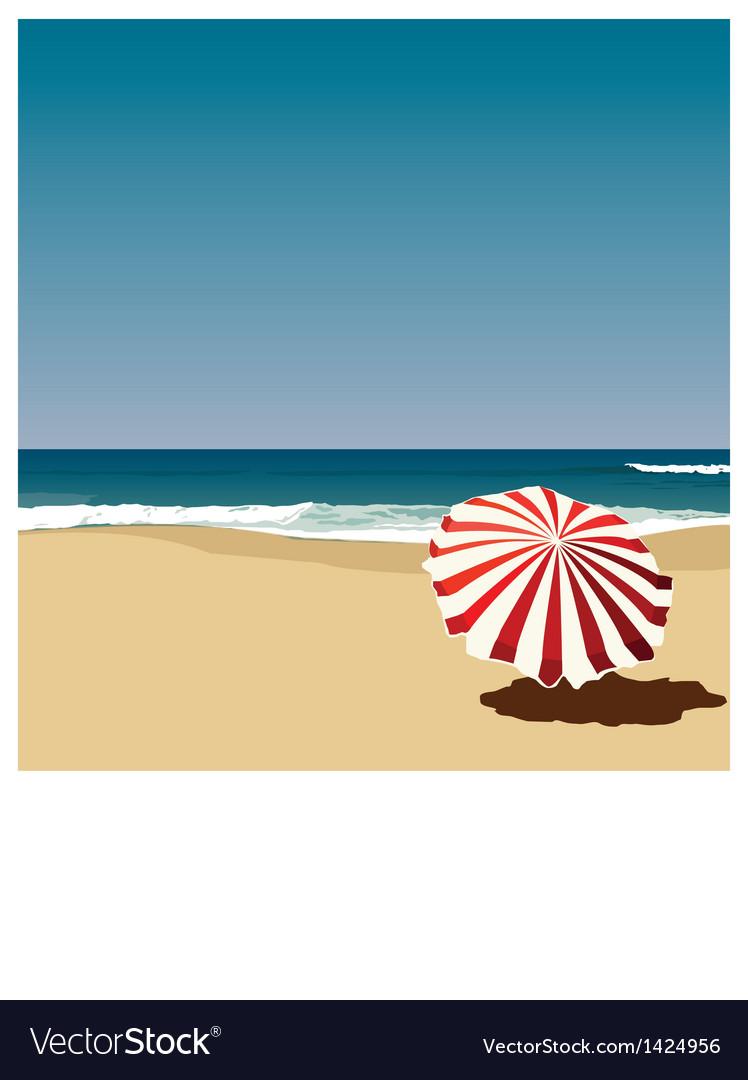 Postcard red umbrella on the beach vector