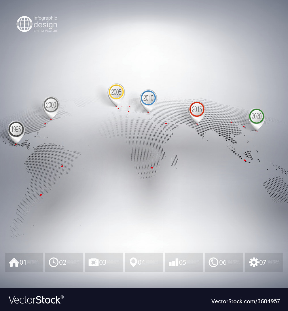 World map with pointer marks infographic for vector