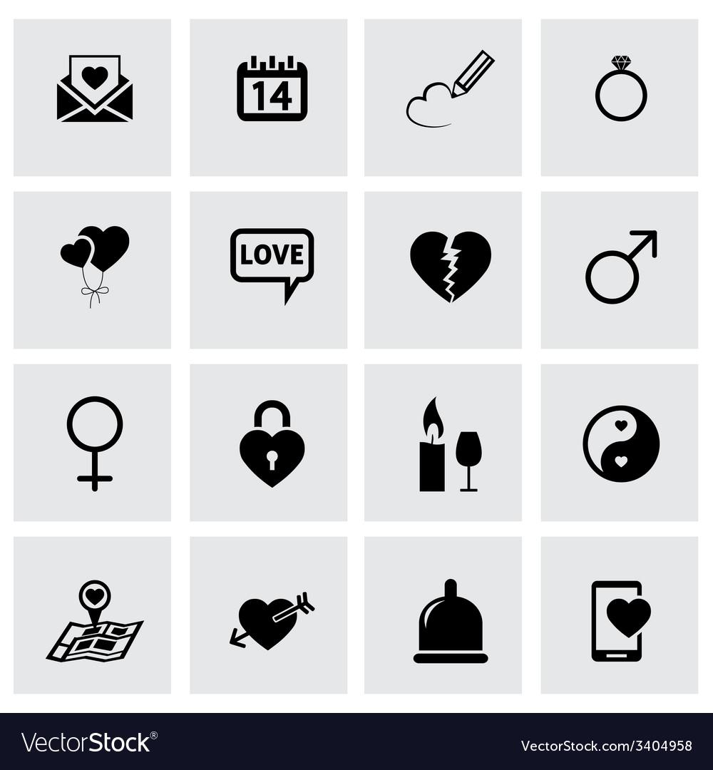 Black love icons set vector