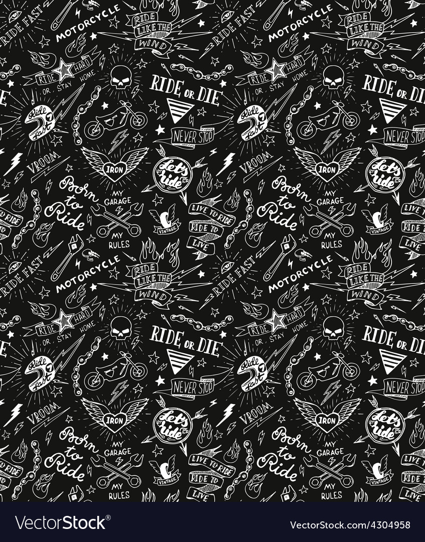Traditional tattoo biker pattern vector
