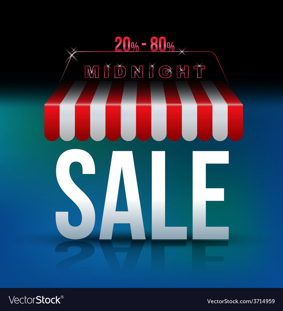 Midnight sale banner awning vector