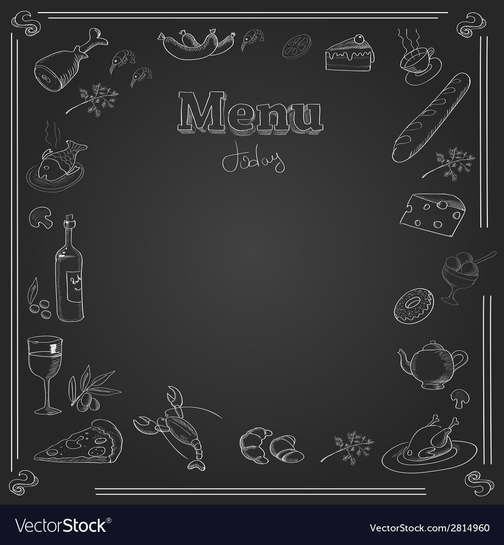 Menu design with a chalk board texture vector