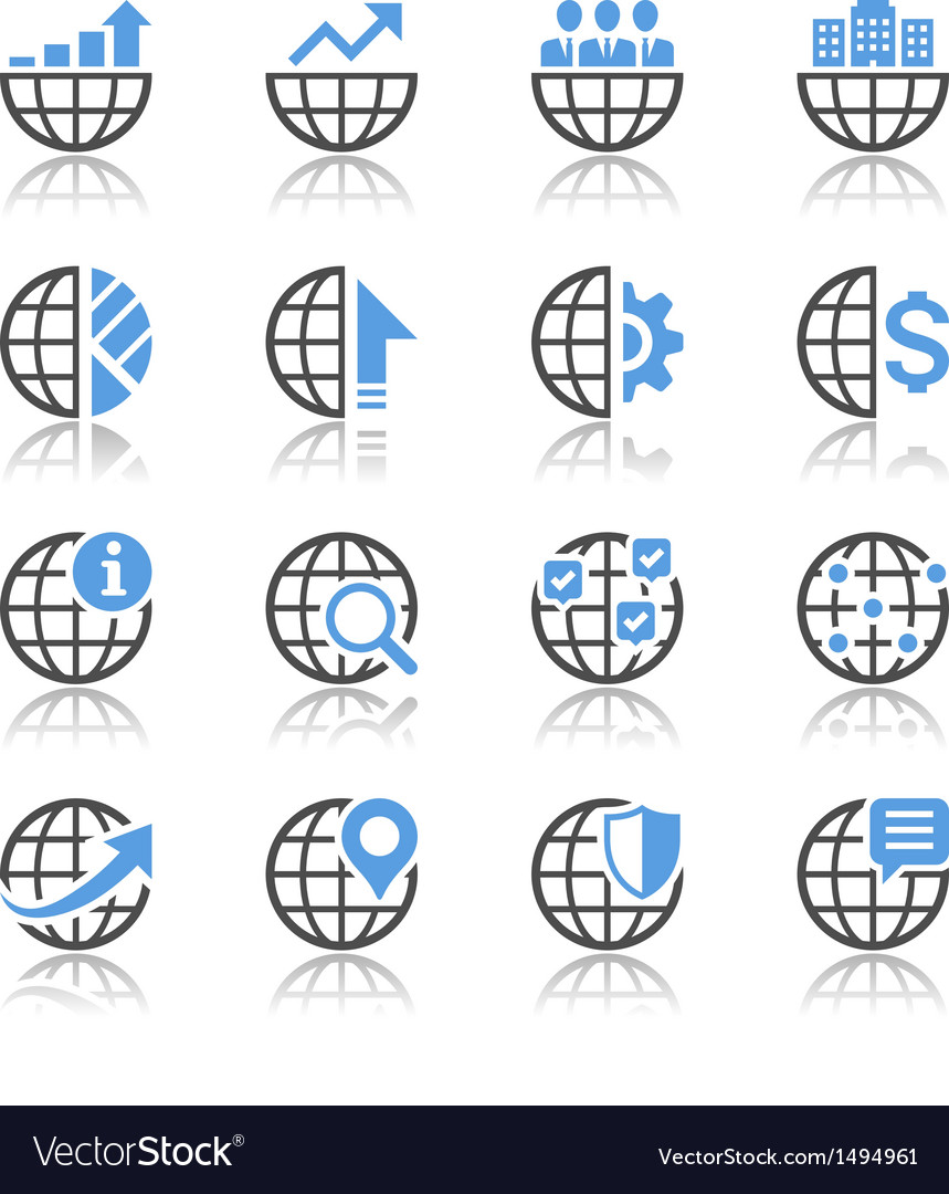 Business icons reflection vector