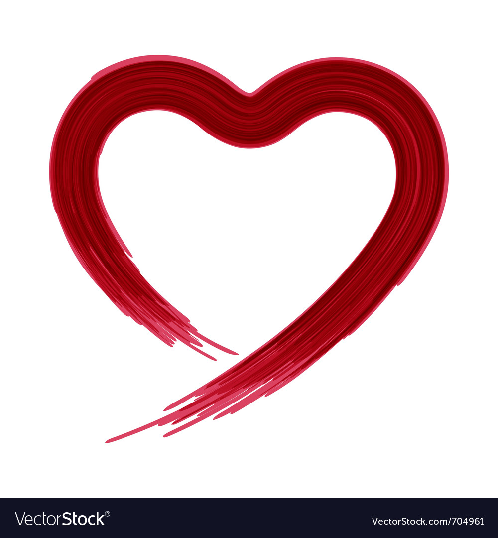 Painted heart shape vector