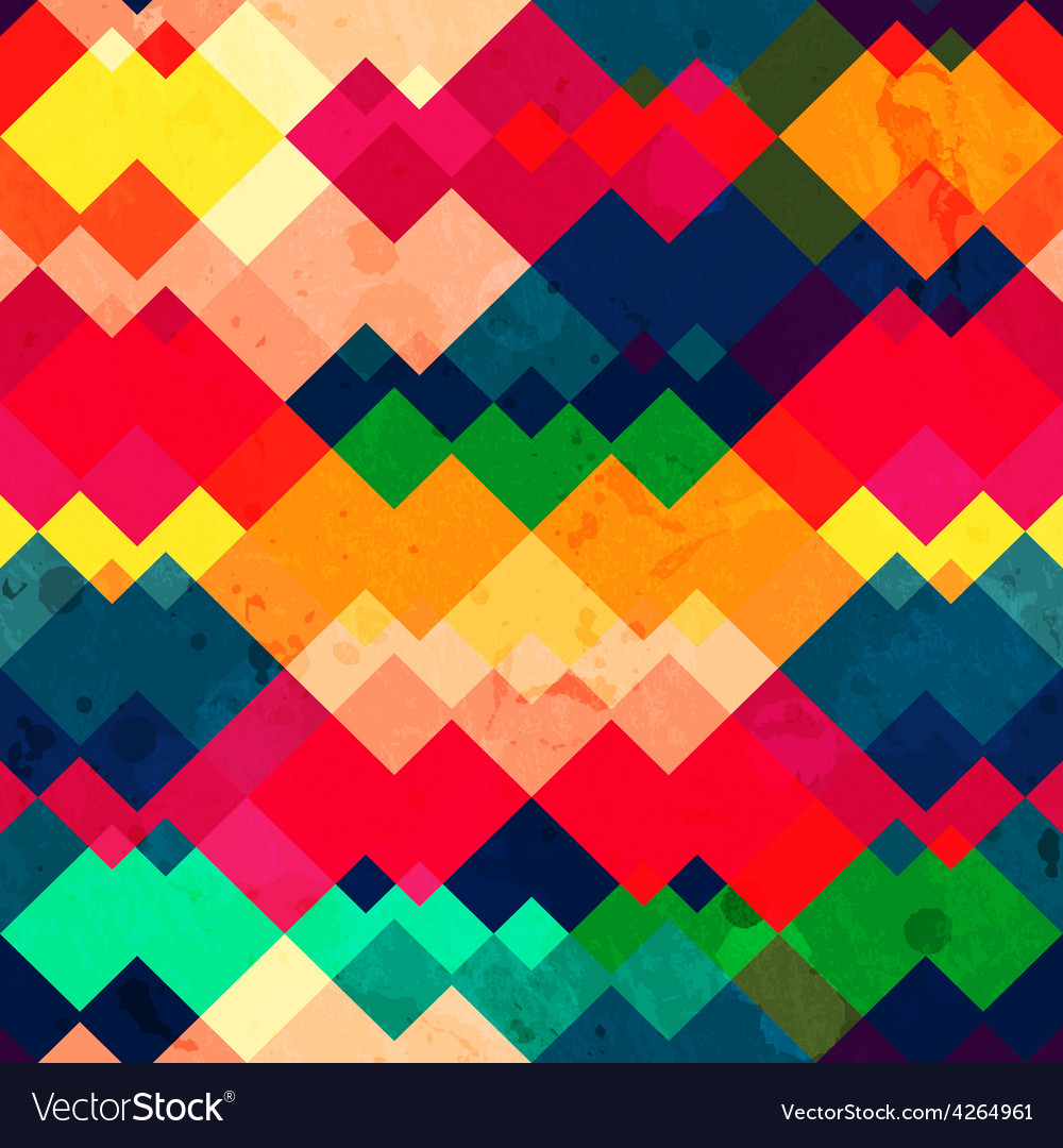 Rainbow zigzag seamless texture with grunge effect vector