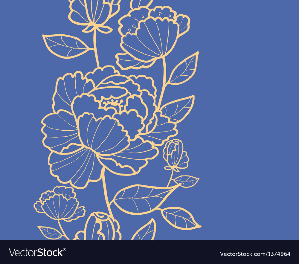 Royal flowers and leaves vertical seamless pattern vector