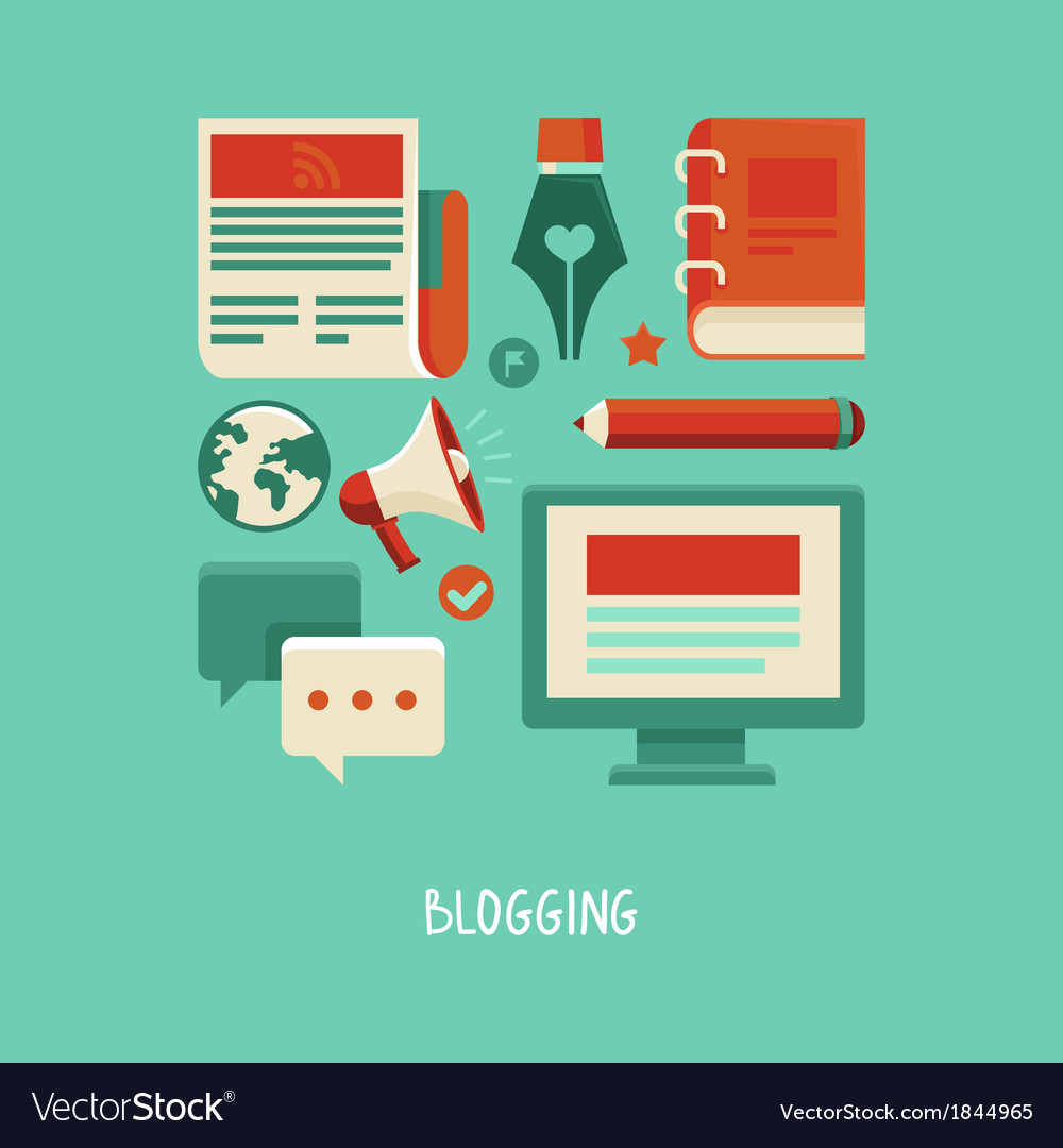 Concept in flat style with trendy icons - blogging vector