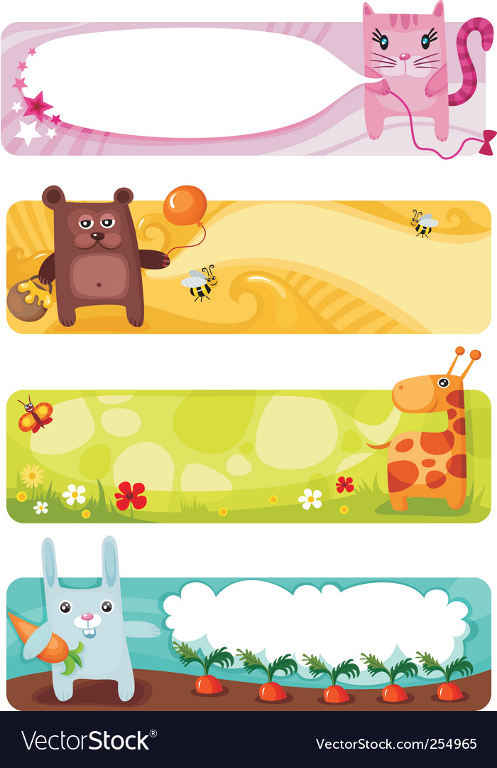 Cute animal card set vector