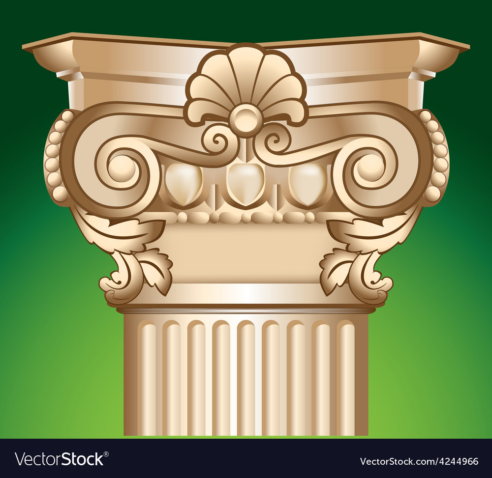 Decorated sandy column top capital vector