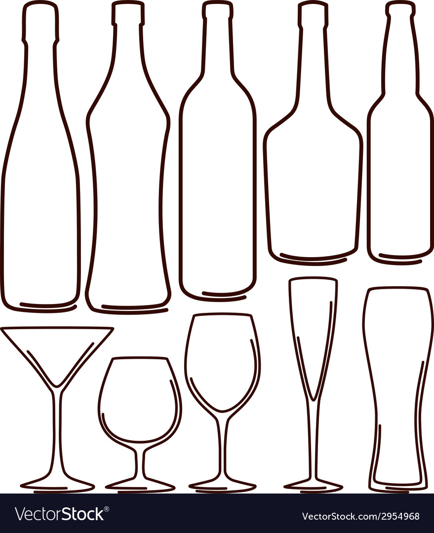 Bottles and glasses set vector