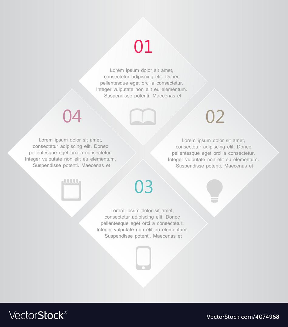 Modern infographics white square design template vector