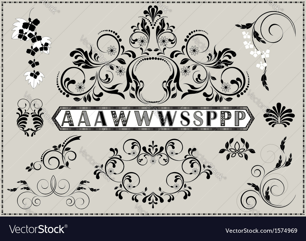 Collection of calligraphy patterns vector