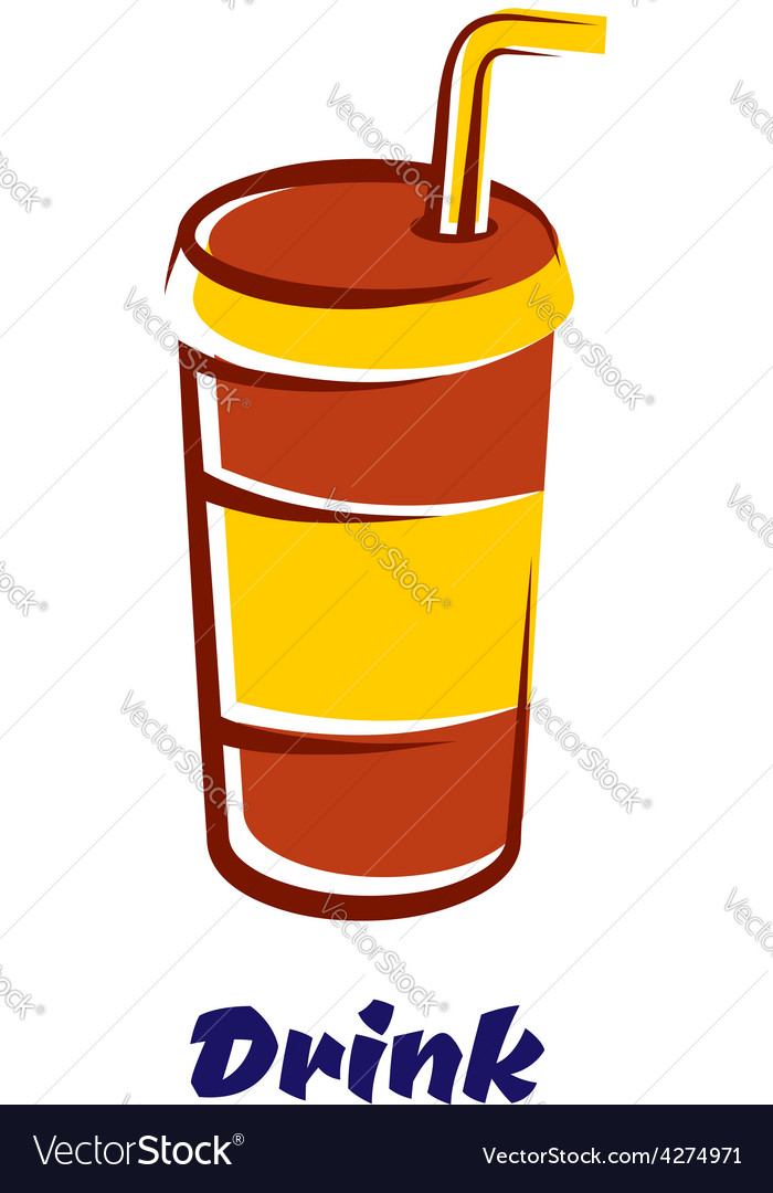 Fastfood cup with lid and straw vector