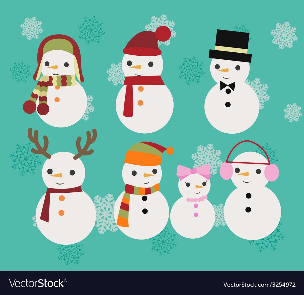 Christmas set of snowmen vector