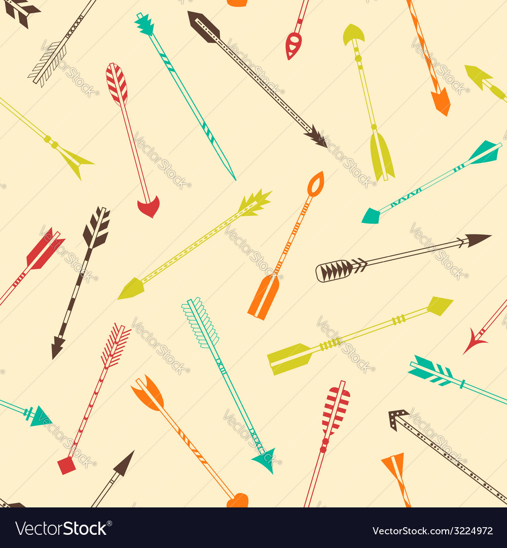 Seamless pattern with colorful indian arrows vector