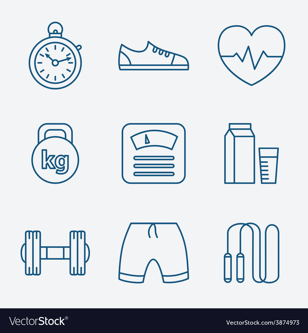 Set of outline stroke fitness icons vector