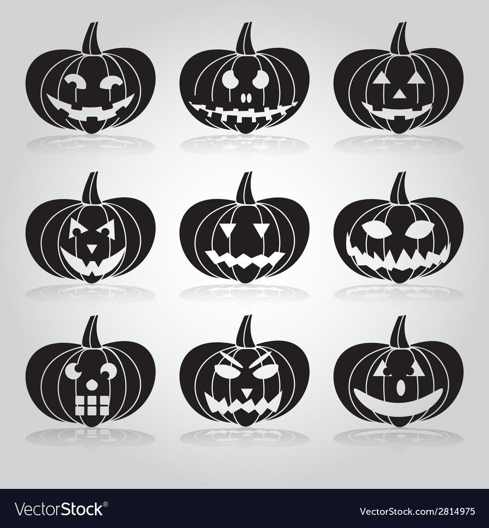 Halloween carved pumpkins set eps10 vector