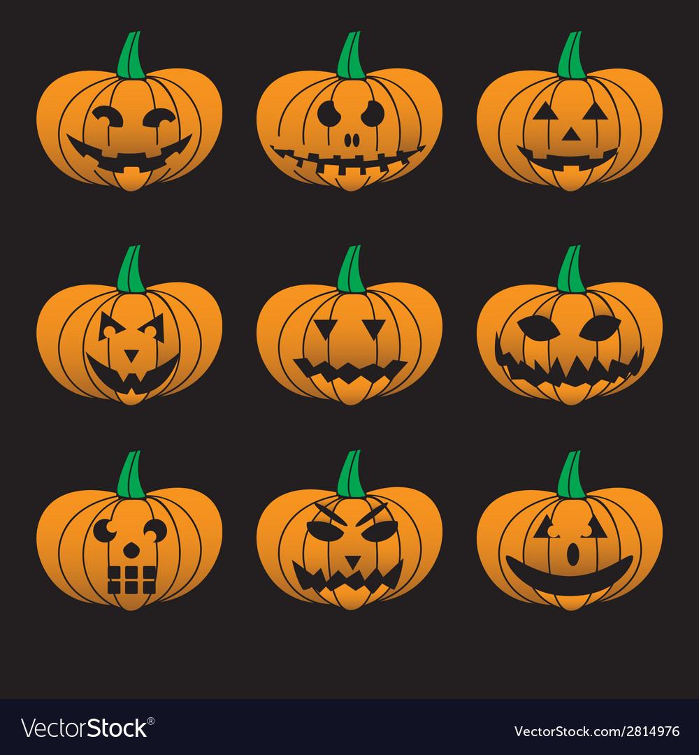Orange halloween carved pumpkins set eps10 vector