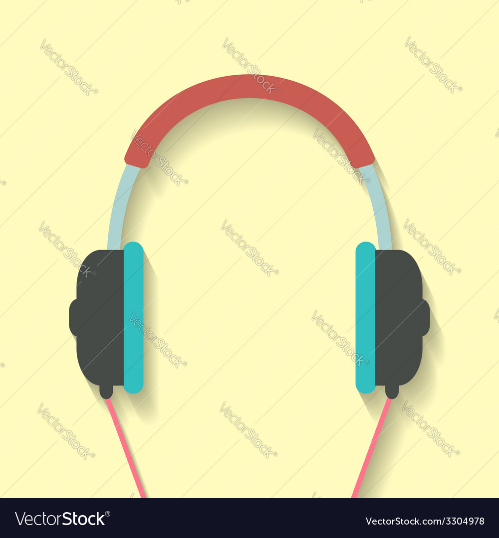 Headphone icon in flat style vector