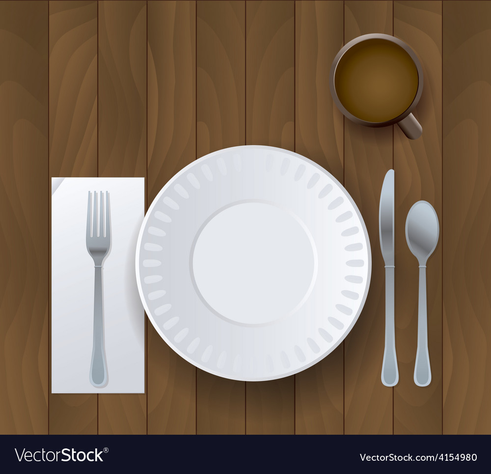 Wooden table and placesetting with coffee vector