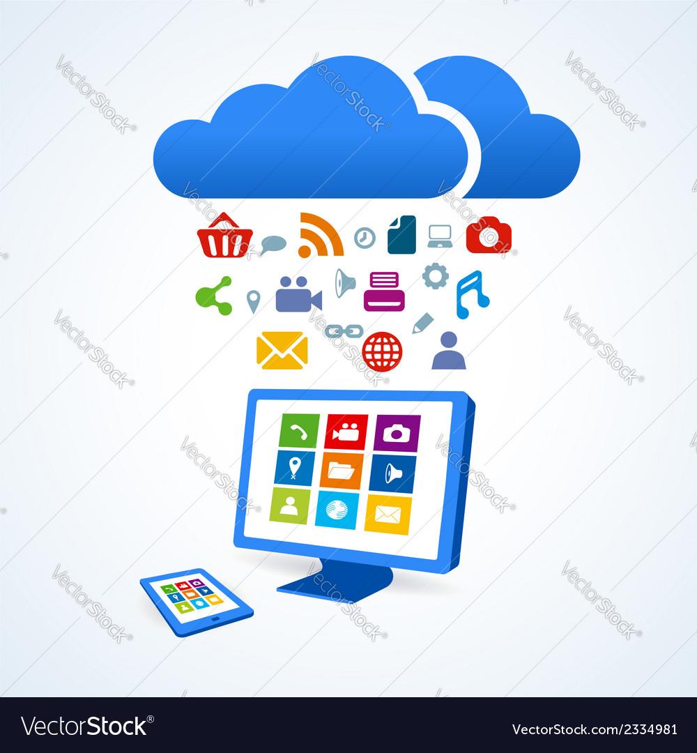 Copmutre desktop table pc media social icon set vector