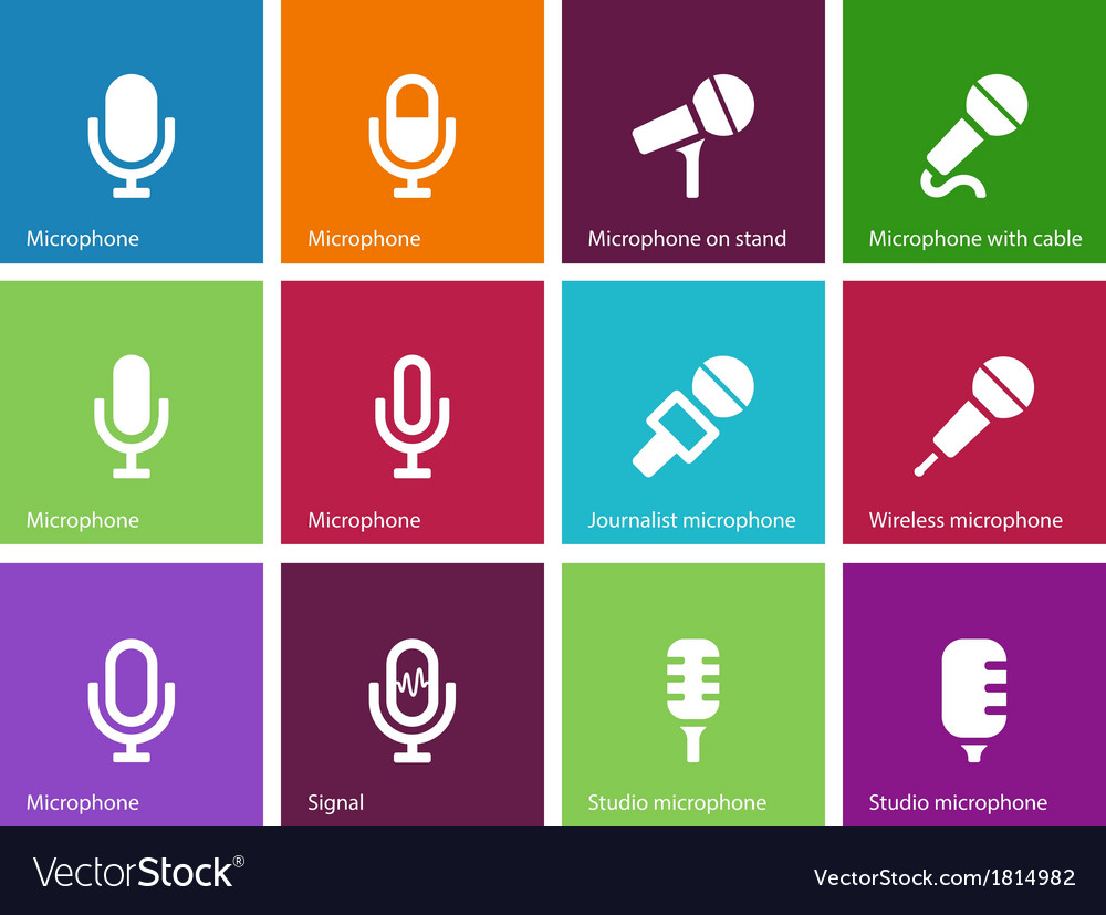 Microphone icons on color background vector