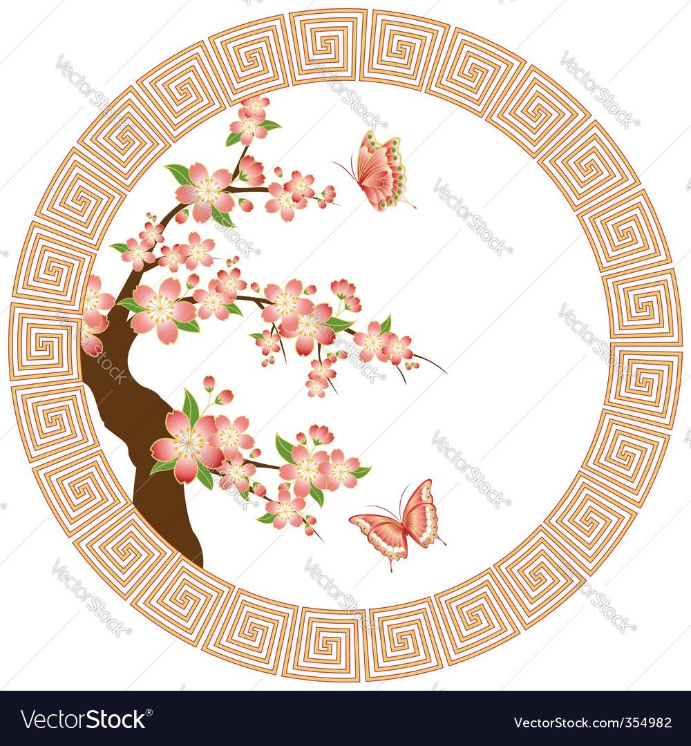 Oriental cherry blossom vector