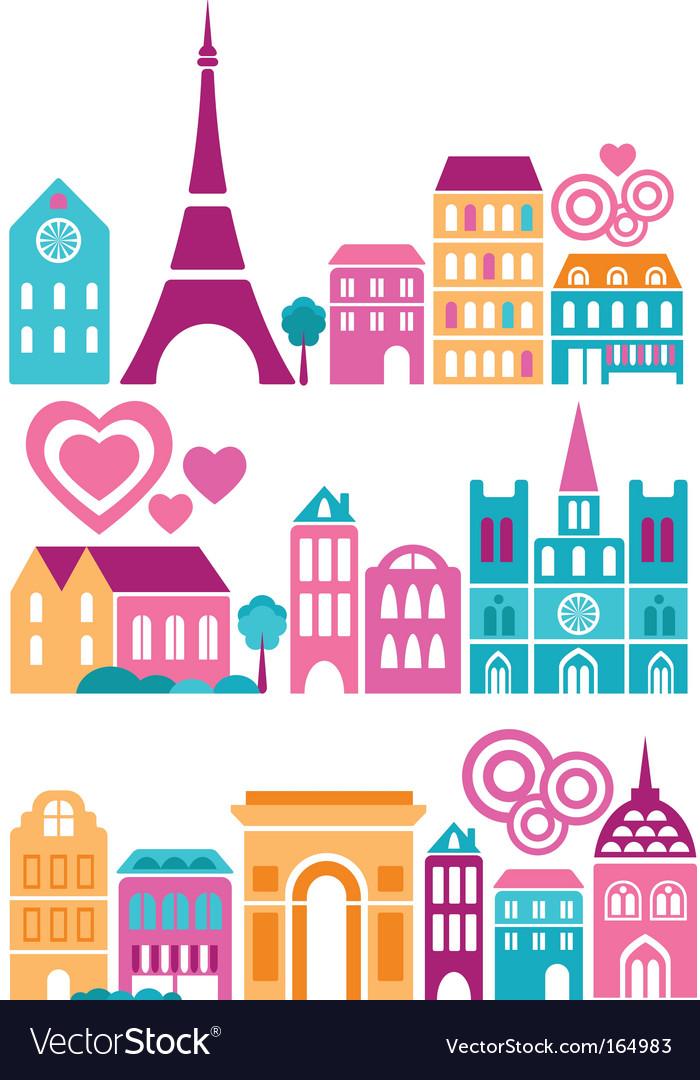 Silhouettes of european cities paris vector