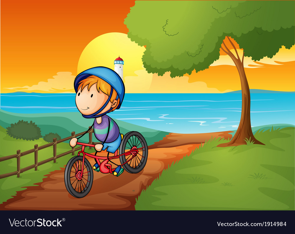 A young boy biking near the river vector